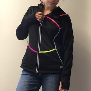 Fila Black with Neon large Full Zip Hoodie